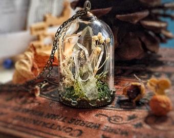 Raw Quartz Pendant, Crystal Necklace, Glass Dome, Bell jar, Moss, Magic Power, Snow Globe, Wish, Mori Girl, Real Flower, Inspire, Woodland