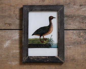 Charming vintage reverse glass painting from India folk naive art hand painted brown duck bird rustic recycled hand made frame 13.5 x 18cm