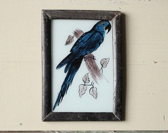 Charming vintage glass painting from India folk naive art hand painted blue parrot bird rustic recycled hand made frame 12 x 17cm