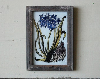 Charming vintage glass painting from India folk naive art hand painted iris lily flowers floral rustic recycled hand made frame 12 x 17cm