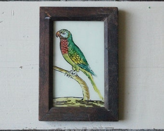 Charming vintage reverse glass painting from India folk naive art hand painted parrot bird rustic recycled hand made frame 13 x 18cm