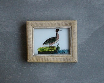 Charming vintage reverse glass painting from India folk naive art hand painted black duck bird rustic recycled hand made frame 13.5 x 11cm
