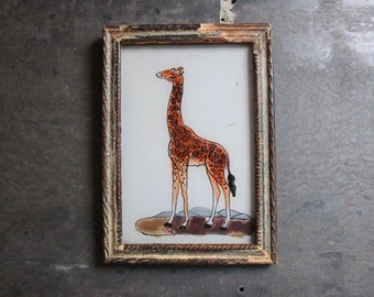 Charming vintage reverse glass painting from India folk naive art hand painted giraffe rustic recycled hand made frame 12 x 17cm