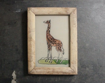 Charming vintage reverse glass painting from India folk naive art hand painted giraffe rustic recycled hand made frame 13.5 x 18cm