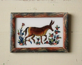 Charming vintage reverse glass painting from India folk naive art hand painted donkey ass mule rustic recycled hand made frame 17.5 x 12cm