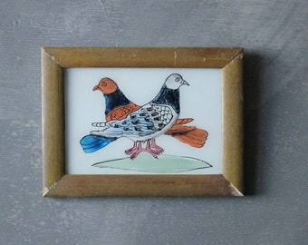 Charming vintage reverse glass painting from India folk naive art hand painted pigeon dove birds recycled hand made frame 18.5 x 13.5cm