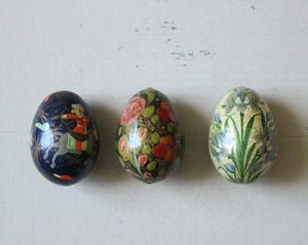 Handmade small vintage hand painted wood wooden Indian South Asian eggs Easter holiday ornament colourful folk