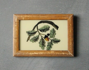 Charming vintage reverse glass painting from India folk naive art hand painted acorn branch tree rustic recycled hand made frame 18 x 13cm