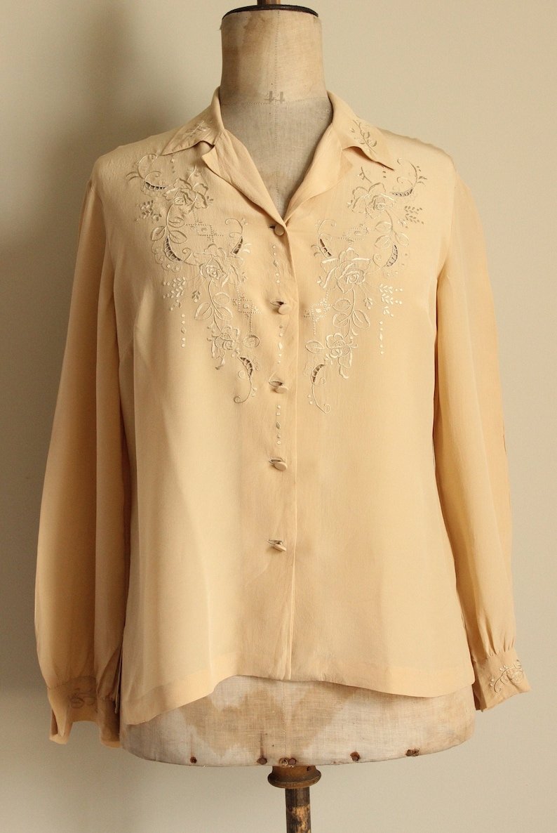 Blouse Vintage French lace white Choir shirt woman/'s clothing work wear old