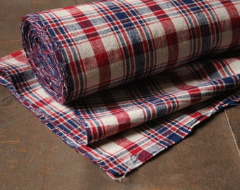 1 metre (100cm) vintage Chinese blue white red checked workwear cotton Songjiang hand woven cotton linen furnishing upholstery fabric (CF 3)
