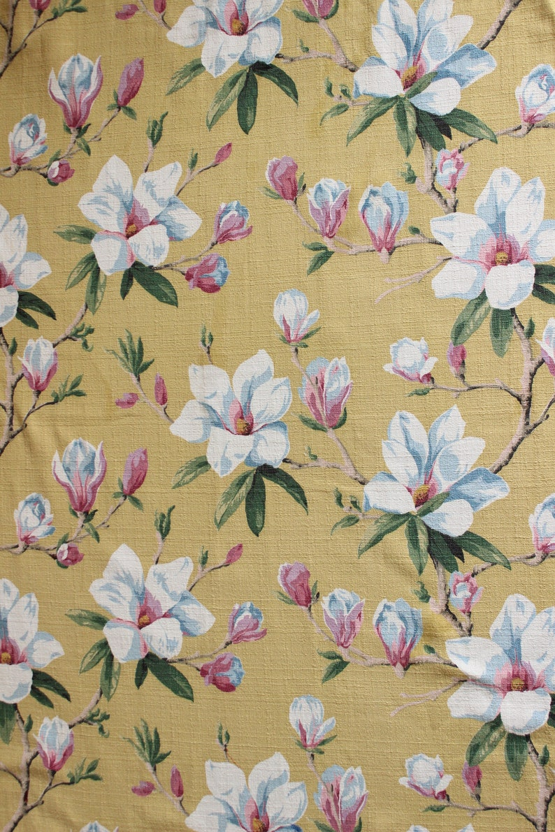 100/% Cotton Fabric BTY Soft Butter Yellow Floral  Flowers Shabby Chic