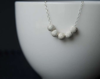 Sterling Silver Stardust Bead Necklace, Sterling Silver Necklace, Stardust Bead Necklace