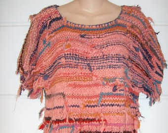 70's Adini Knitted Rustic Hippie Top Boho Style Short Sleeve Heavy Knit Multicolor 100% Cotton 70s  One size
