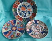 Group of 3 Vintage Japanese Imari Plates 1 Larger 2 Smaller Instant Collection of Japanese Art Asian Art