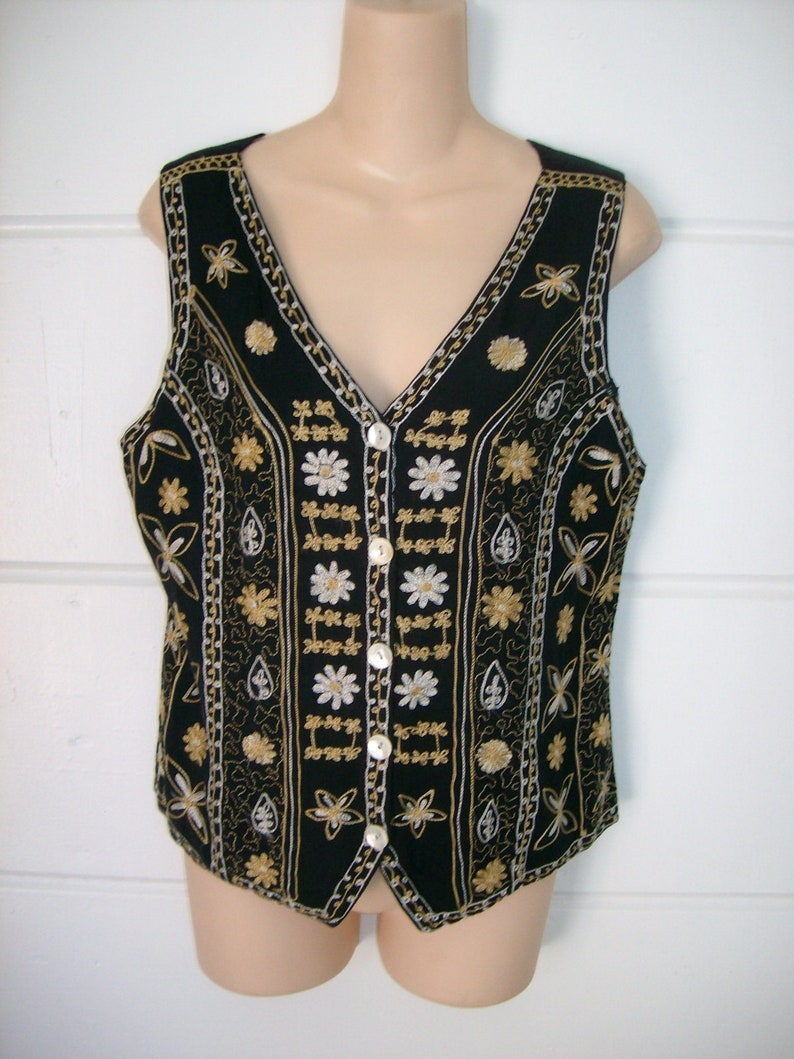 413491951df Vintage Embroidered Black Rayon Fully Lined Fitted Womens Vest