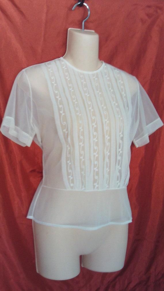 1940's Sheer Nylon White Blouse Embroidered Back B