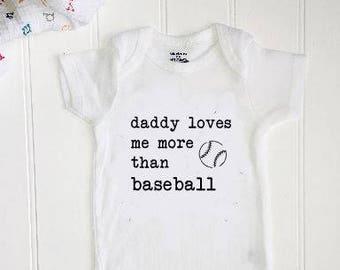 e320c6f4bc Baseball ONESIE®   New baby ONESIE®    Unisex ONESIE®    Funny bodysuit     Funny Onesie®    Daddy loves me more than baseball