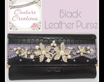 Embellished Black Leather and lace floral purse