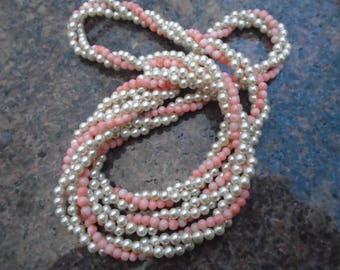 Vintage Hobe pearls and pink coral beaded rope necklace 34 inches long