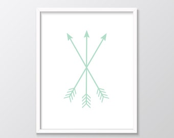Mint Nursery Decor, Mint Arrows Printable Art, Mint Arrows Print, Mint Green Decor, Arrows Print, Mint Printable Art, Mint Print