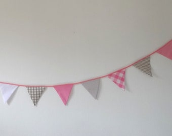 Garland of flags - pink / beige taupe