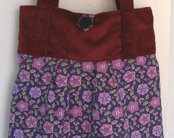 Sac velours brun fleurs   Etsy a6809a3c678