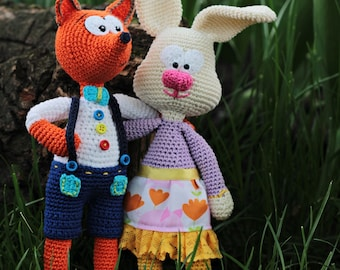 Crochet Patterns - FOX & BUNNY - Vasilik and Zoe