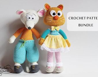 Crochet Pattern: Mouse - Cat. Amigurumi crochet pattern. Bernie and Olga. PDF files
