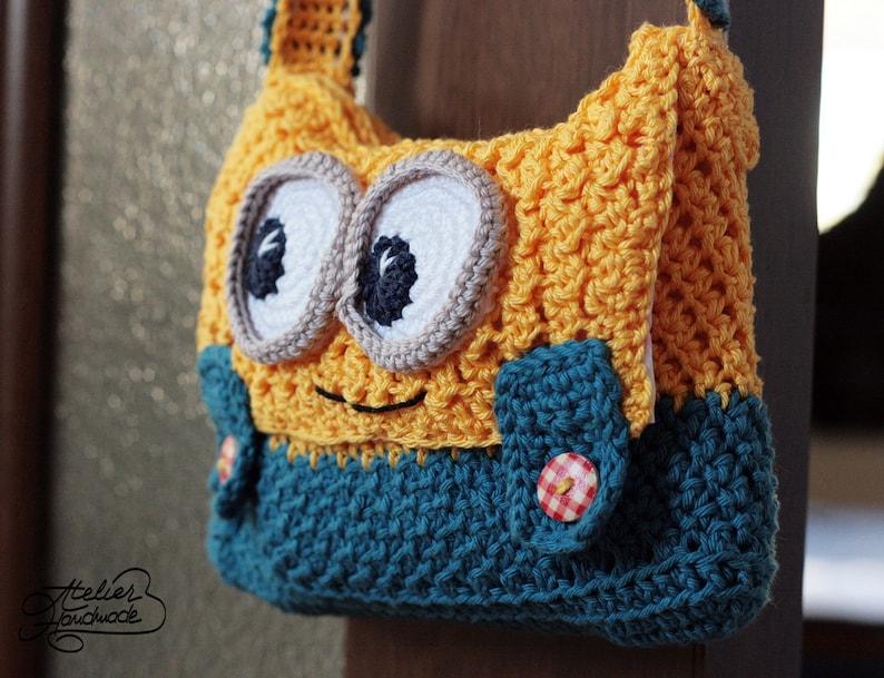 Crochet PATTERN  yellow and blue Purse  PDF FILE image 0