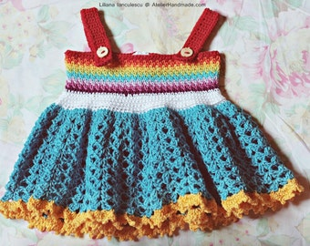 "Crochet Pattern: ""Rainbow baby"" crochet dress"
