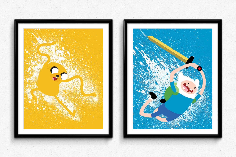 Adventure Time Finn and Jake Splatter Paint Poster Set | Etsy