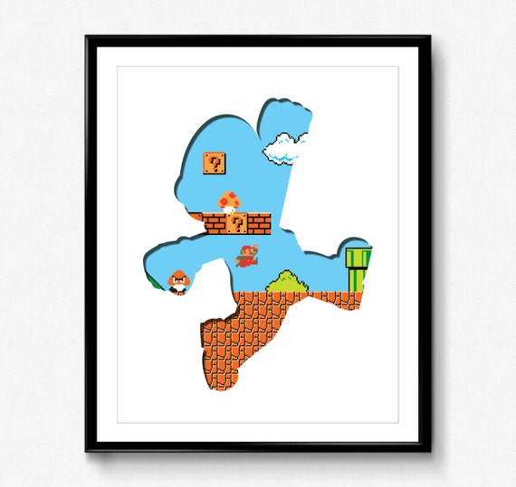 Super Mario Bros 8 Bit Mario Impression De Jeu Vidéo Art Mural Nintendo Pixel 8 Bits Art