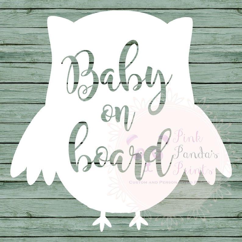 Baby on board, vinyl sticker, car, custom greeting, door sticker, vinyl  decal, custom, baby shower, gift, owl, heart, expecting, pregnancy