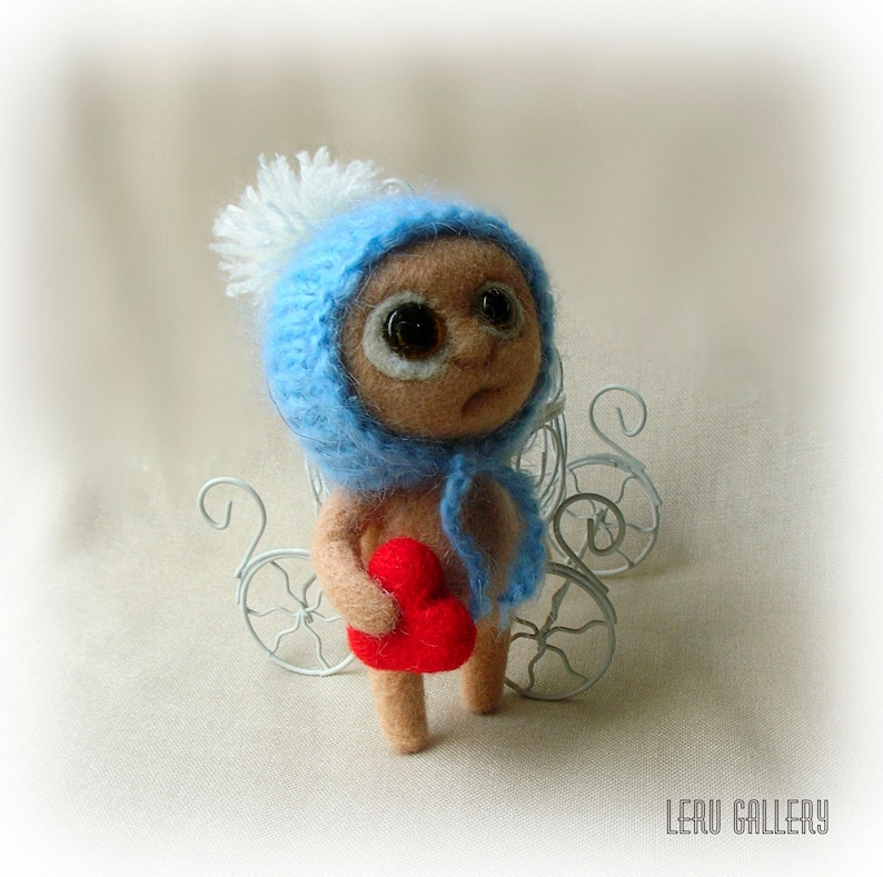 Monster needle felted. Tiny monster with heart. Fantasy art image 0