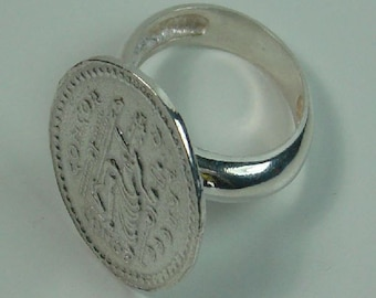 Roman coin silver ring finished in gloss