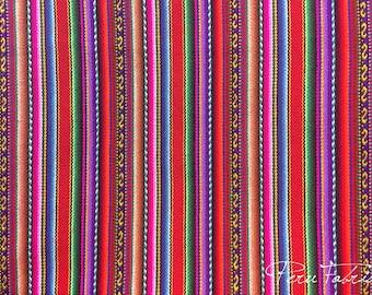 Red Striped Fabric, Luxury Textile, Colorful Stripe Home Decor, Peruvian Fabric, Guatemala Boho Fabric, Wholesale Curtain Textile