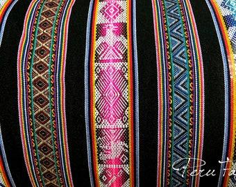 Black Geometric Inca Birds Fabric, Inca fabric,Peru fabric, Ethnic design, Cuzco decor, Peruvian fabric,textiles, Andean fabric Jacquard