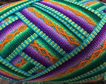 Orange Green Diamond Jacquard Ribbon / ethnic ribbon / jacquard ribbon / decorative trim / woven jacquard trim / trims / geometric / peru