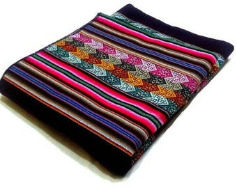 Peruvian Blanket Colorful Inca Design ,inca Blanket, peru fabric,Cusco blankets,ethnic fabric,aguayo fabric,peruvian rug,inca blanket