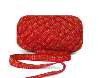 Red Orange Geometric Ribbon 5 meters,  woven ribbon jacquard, trim decorative,wholesale ribbon supplier,ethnic ribbon , ribbon by the yard