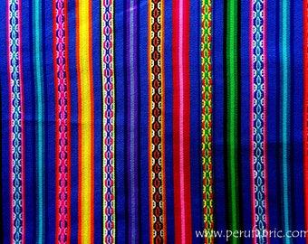 Bluish Stripe by the yard, peruvian fabric, wholesale fabric, indian fabric, bohemian fabric, home decor textile, cheap fabric,cusco