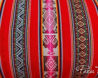 Red Geometric Inca Birds Fabric, Ethnic Inca Design, Peruvian Style Textile, Ornate Jacquard, Cotton, Acrylic, Peru, Andes, South American