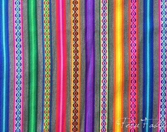 Gray Double Striped Fabric by yard ,peruvian fabric,aguayo,bohemian fabric ethnic fabric guatemalan fabric,thai fabric,aztec