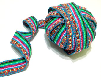 Jacquard Geometric Turquoise Ribbon, peruvian ribbon, ethnic ribbon, ribbon by the yard, tribal ribbon, decorative ribbon, peru trim