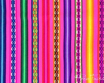 Pink Bright Peruvian Fabric by yard , Boho Fabric Stripy, bohemian fabric by the yard, Tribal Upholstery Fabric