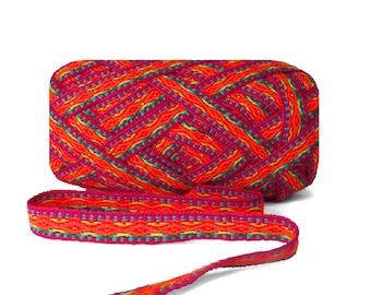 Purple Orange Geometric Ribbon 5 meters , woven ribbon jacquard, trim decorative,wholesale ribbon supplier,ethnic ribbon , ribbon by meter