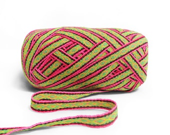Pink Yellow Geometric Ribbon 5 meters ,  woven ribbon jacquard, trim decorative,wholesale ribbon supplier,ethnic ribbon , ribbon by the yard