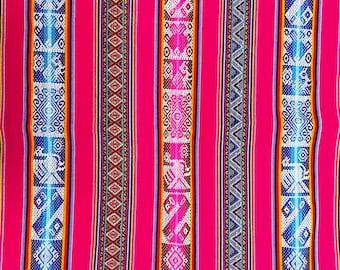 Fucsia Geometric Inca Birds Fabric, Peru fabric, Andean fabric Jacquard, Ethnic design, Cuzco decor, Peruvian fabric,textiles, Andean fabric