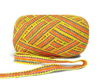 Yellow  Orange Geometric Ribbon 5 meters,  woven ribbon jacquard, trim decorative,wholesale ribbon supplier, ribbon by the yard