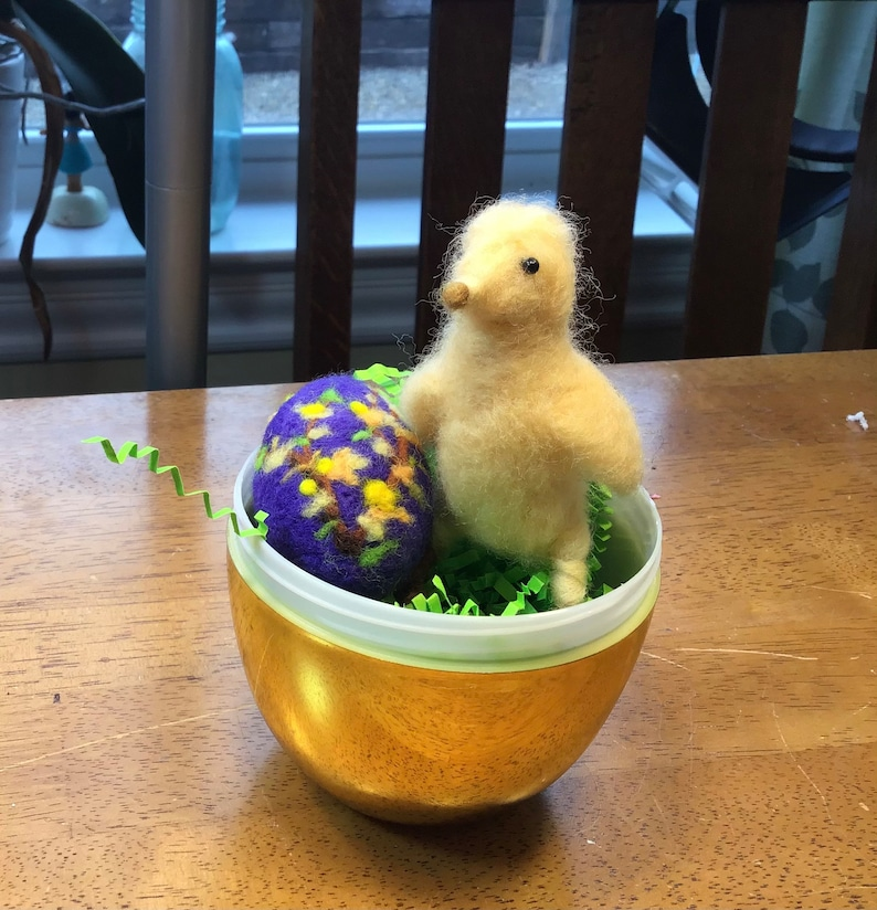 Felted Easter Chick and Purple Easter Egg